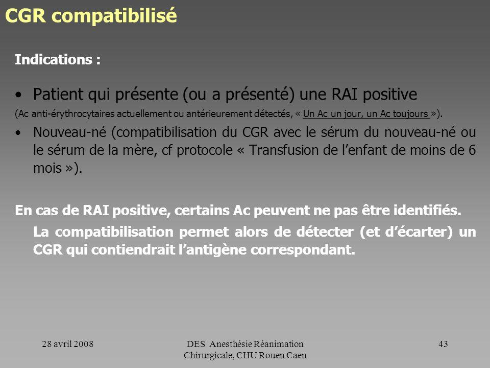 28 avril 2008DES Anesthésie Réanimation Chirurgicale, CHU Rouen Caen 42 CGR compatibilisé Rappel Un CGR compatibilisé est un CGR sélectionné au labora