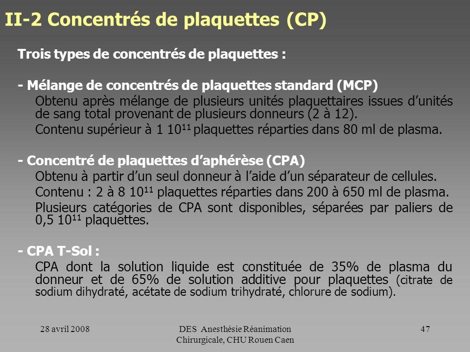 28 avril 2008DES Anesthésie Réanimation Chirurgicale, CHU Rouen Caen 46 CGR - remarques La durée de vie moyenne des globules rouges transfusés est de