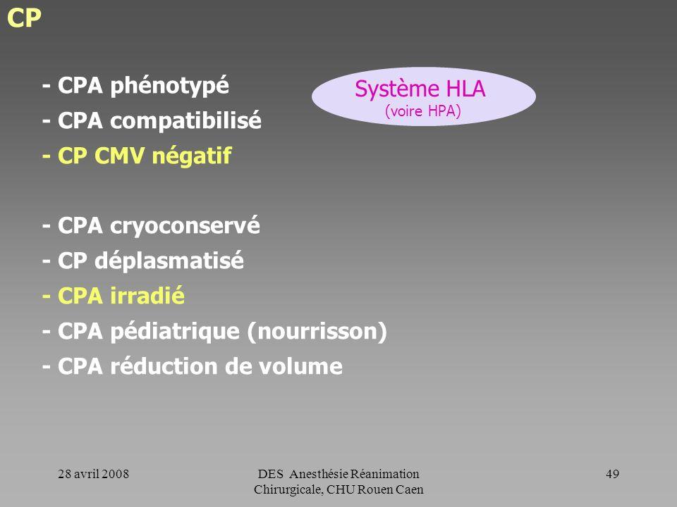 28 avril 2008DES Anesthésie Réanimation Chirurgicale, CHU Rouen Caen 48 CP Tous les CP sont déleucocytés. Le taux résiduel de leucocytes est inférieur
