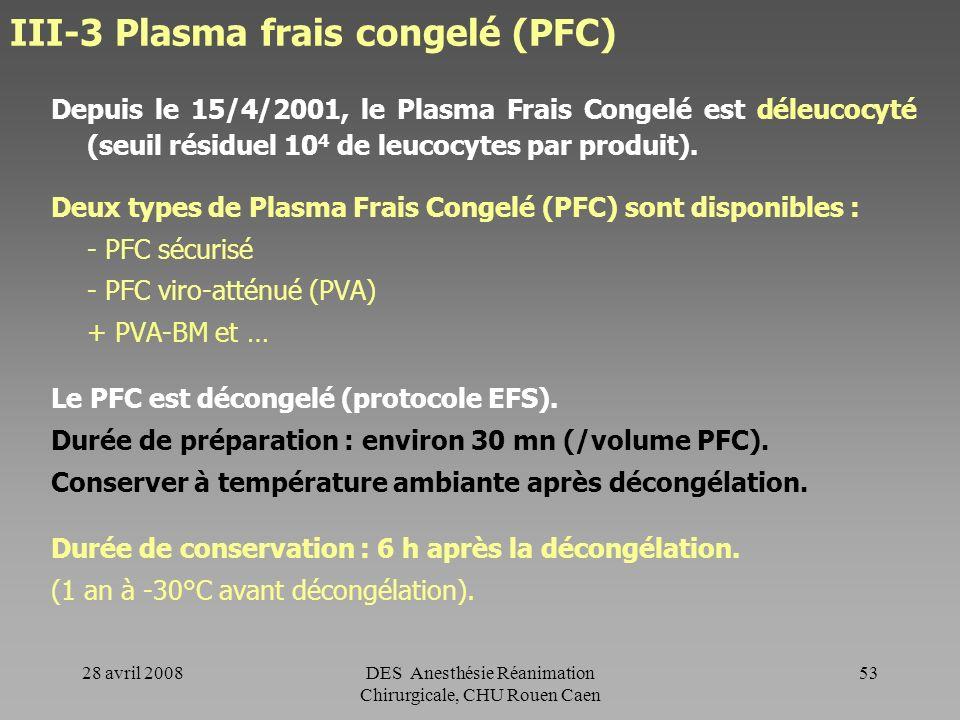 28 avril 2008DES Anesthésie Réanimation Chirurgicale, CHU Rouen Caen 52 CP - remarques La durée de vie moyenne des plaquettes transfusées est de 3 à 4