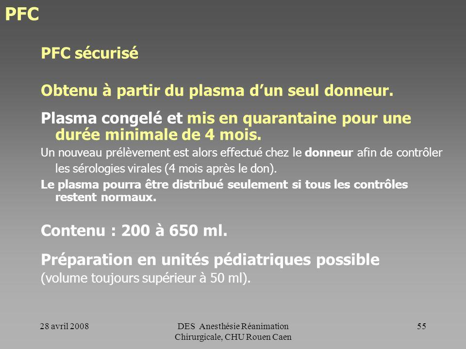 28 avril 2008DES Anesthésie Réanimation Chirurgicale, CHU Rouen Caen 54 PFC - PFC sécurisé - PVA - PVA-BM