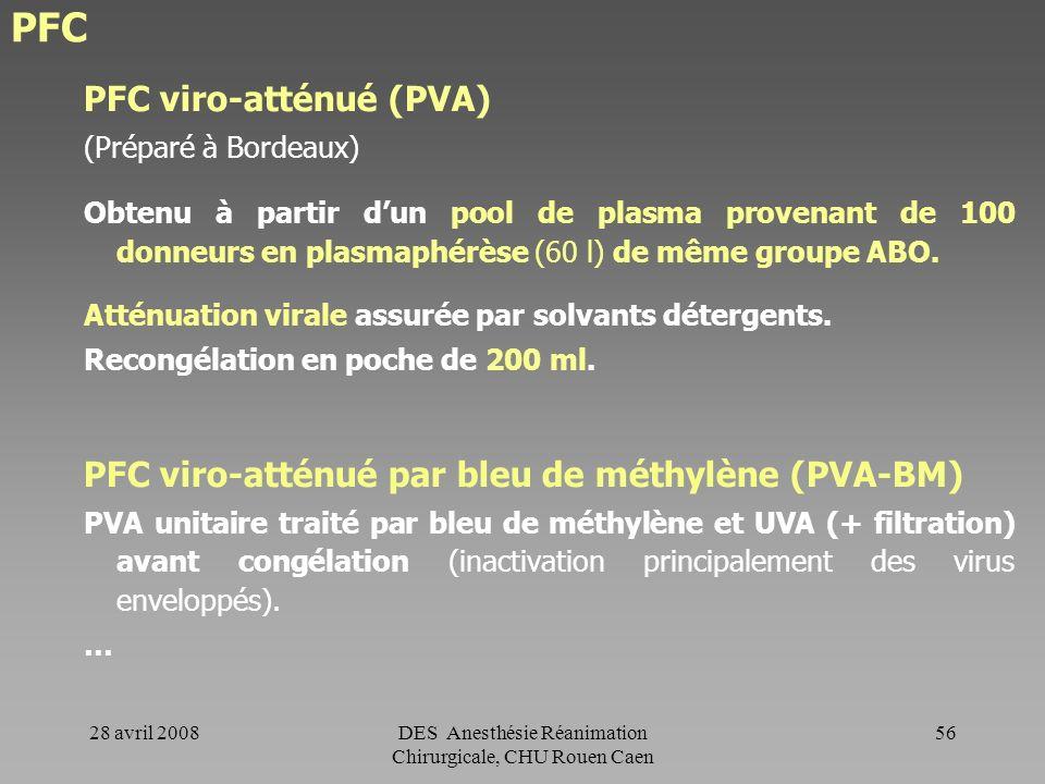 28 avril 2008DES Anesthésie Réanimation Chirurgicale, CHU Rouen Caen 55 PFC PFC sécurisé Obtenu à partir du plasma dun seul donneur. Plasma congelé et