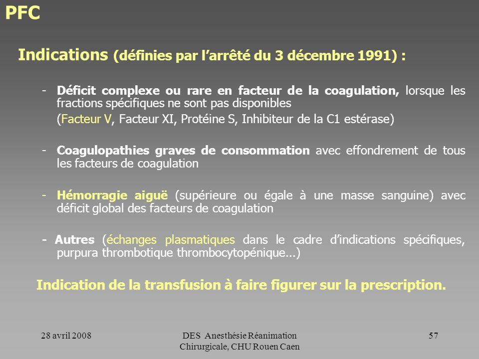 28 avril 2008DES Anesthésie Réanimation Chirurgicale, CHU Rouen Caen 56 PFC PFC viro-atténué (PVA) (Préparé à Bordeaux) Obtenu à partir dun pool de pl