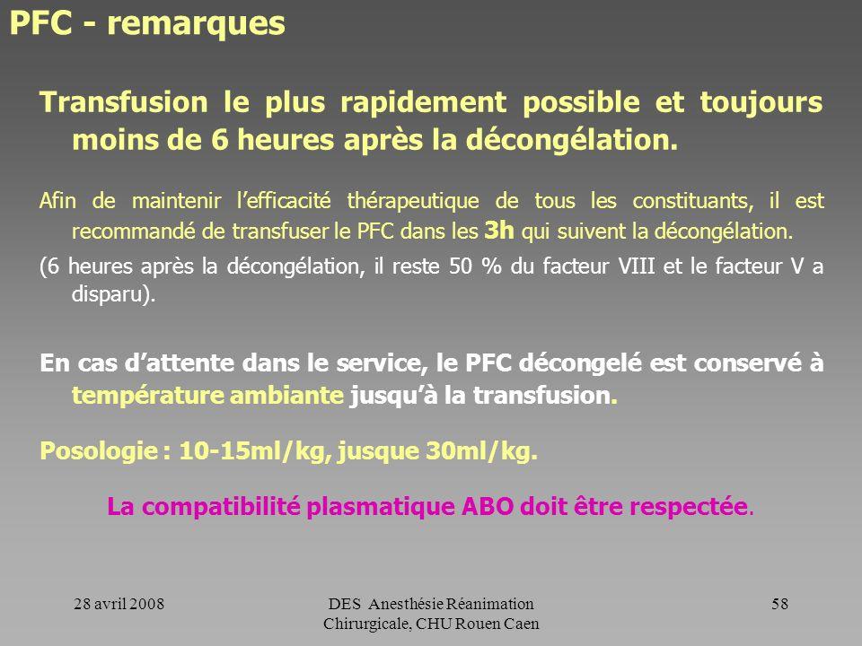 28 avril 2008DES Anesthésie Réanimation Chirurgicale, CHU Rouen Caen 57 PFC Indications (définies par larrêté du 3 décembre 1991) : -Déficit complexe