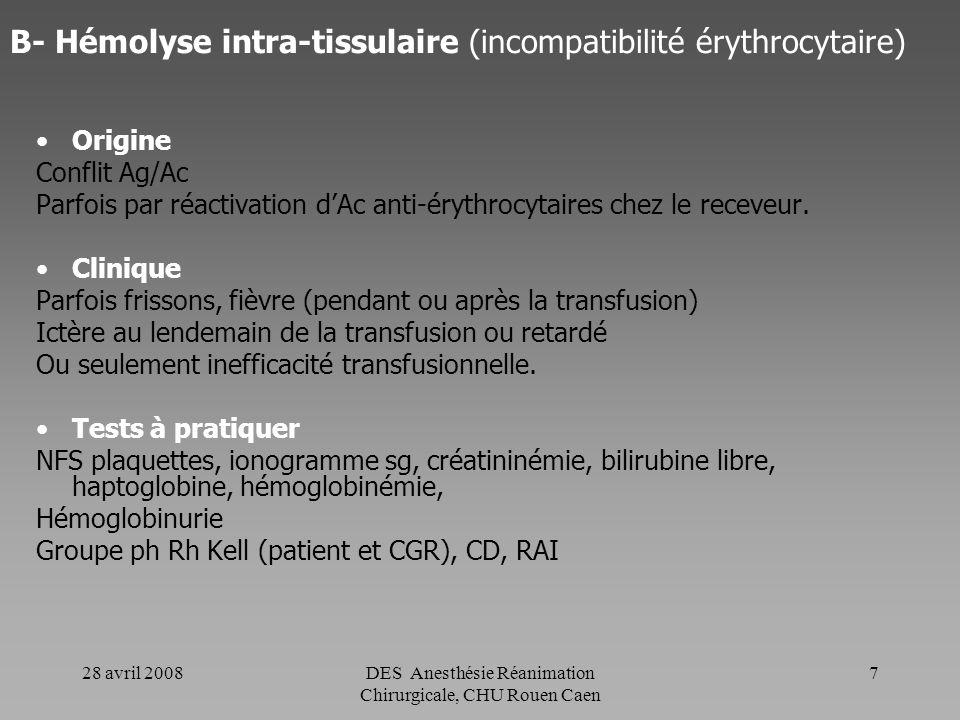 28 avril 2008DES Anesthésie Réanimation Chirurgicale, CHU Rouen Caen 6 A- Choc hémolytique (hémolyse intra-vasculaire) Clinique -Frissons, fièvre, dou