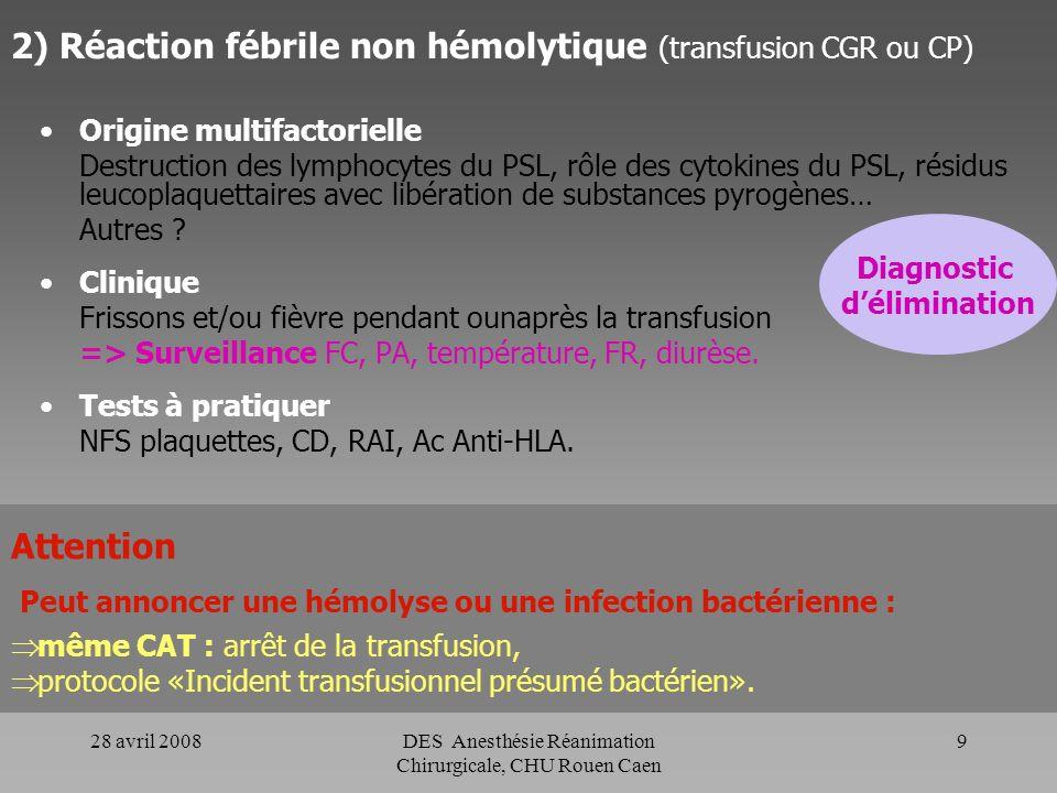28 avril 2008DES Anesthésie Réanimation Chirurgicale, CHU Rouen Caen 8 C- Accidents liés à une allo-immunisation dans le système HLA ou HPA. Origine C