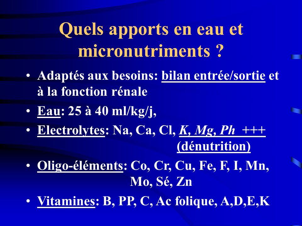 Quels apports en eau et micronutriments ? Adaptés aux besoins: bilan entrée/sortie et à la fonction rénale Eau: 25 à 40 ml/kg/j, Electrolytes: Na, Ca,