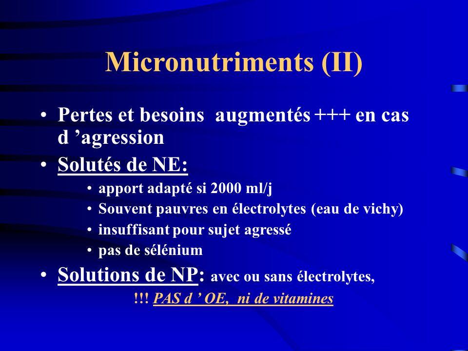 Micronutriments (II) Pertes et besoins augmentés +++ en cas d agression Solutés de NE: apport adapté si 2000 ml/j Souvent pauvres en électrolytes (eau