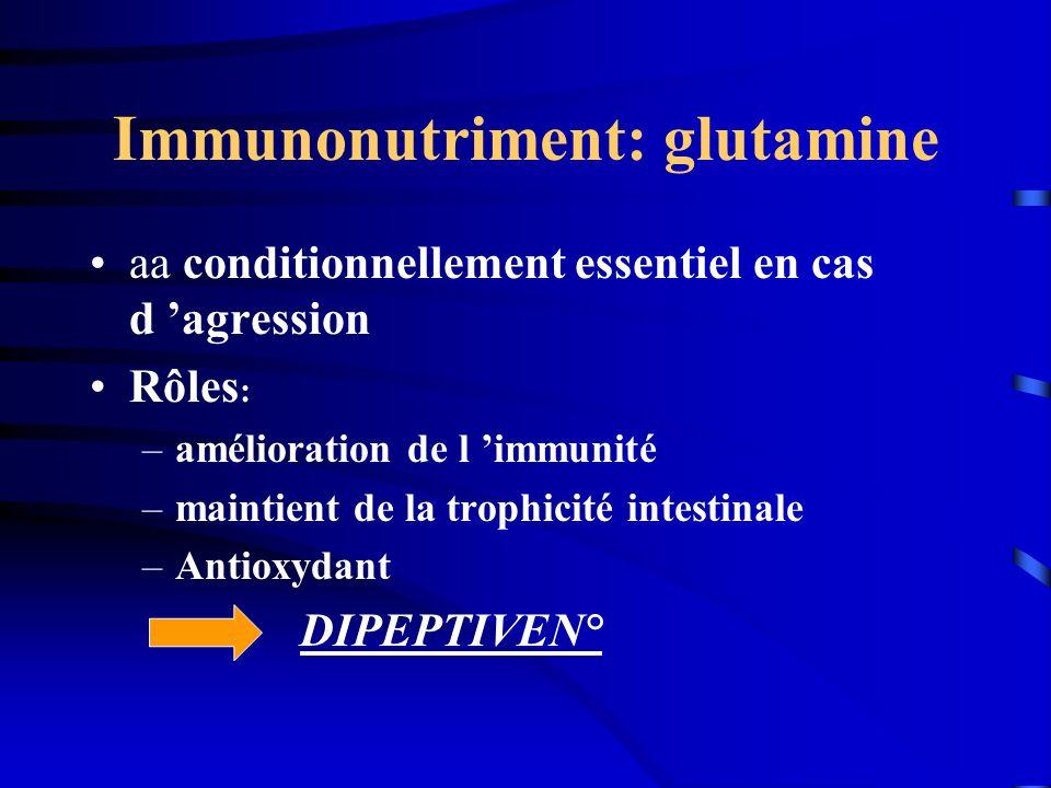Immunonutriment: glutamine aa conditionnellement essentiel en cas d agression Rôles : –amélioration de l immunité –maintient de la trophicité intestin