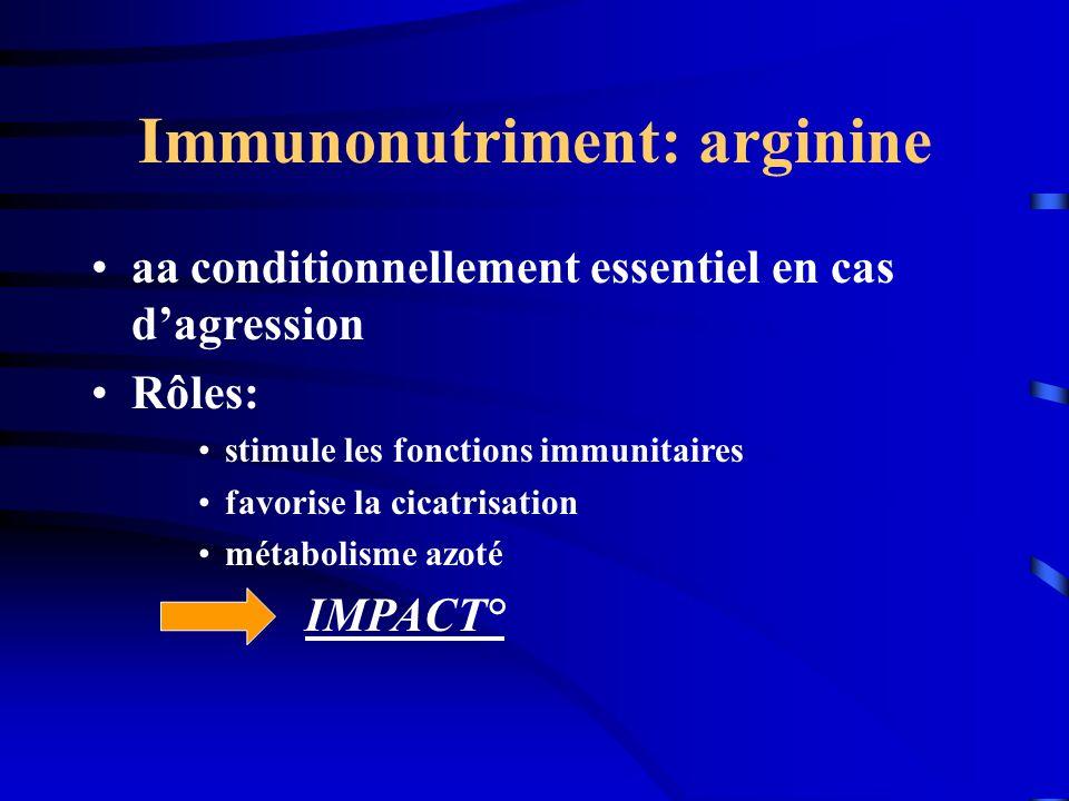 Immunonutriment: arginine aa conditionnellement essentiel en cas dagression Rôles: stimule les fonctions immunitaires favorise la cicatrisation métabo