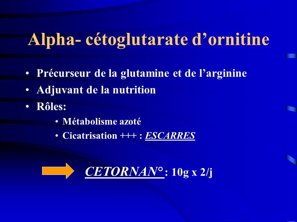 Alpha- cétoglutarate dornitine Précurseur de la glutamine et de larginine Adjuvant de la nutrition Rôles: Métabolisme azoté Cicatrisation +++ : ESCARR