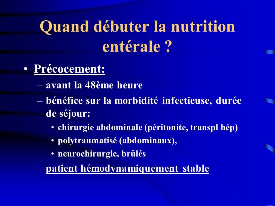 Quand débuter la nutrition entérale ? Précocement: –avant la 48ème heure –bénéfice sur la morbidité infectieuse, durée de séjour: chirurgie abdominale