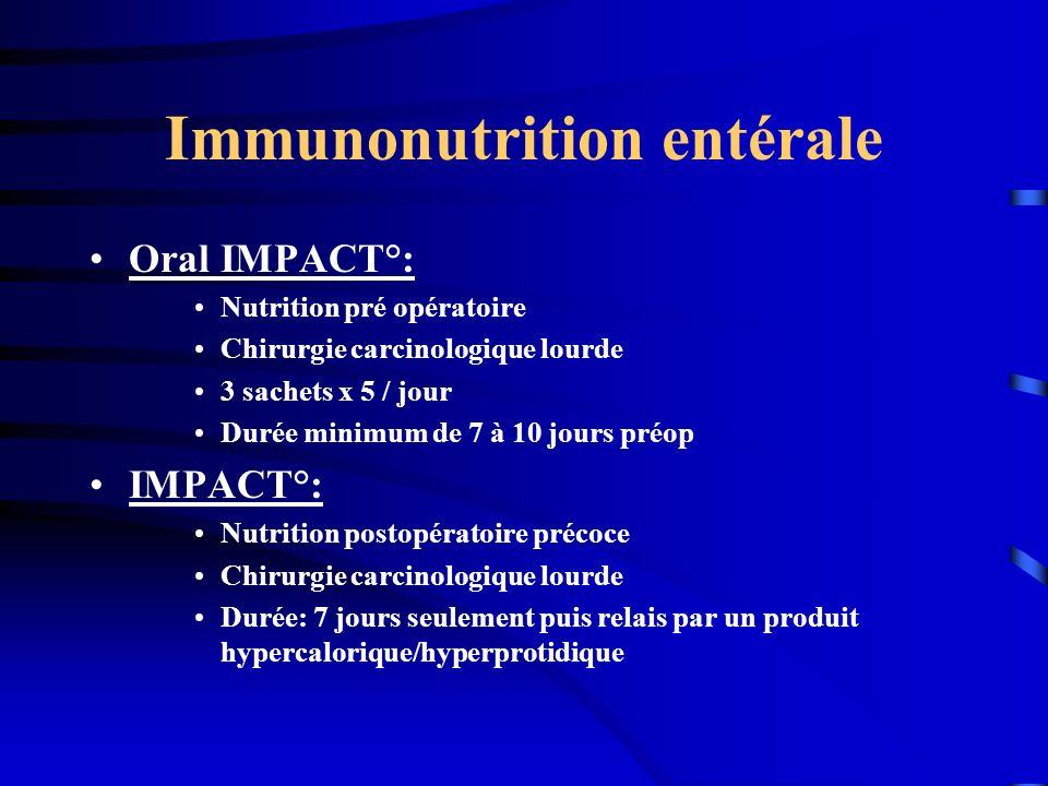 Immunonutrition entérale Oral IMPACT°: Nutrition pré opératoire Chirurgie carcinologique lourde 3 sachets x 5 / jour Durée minimum de 7 à 10 jours pré