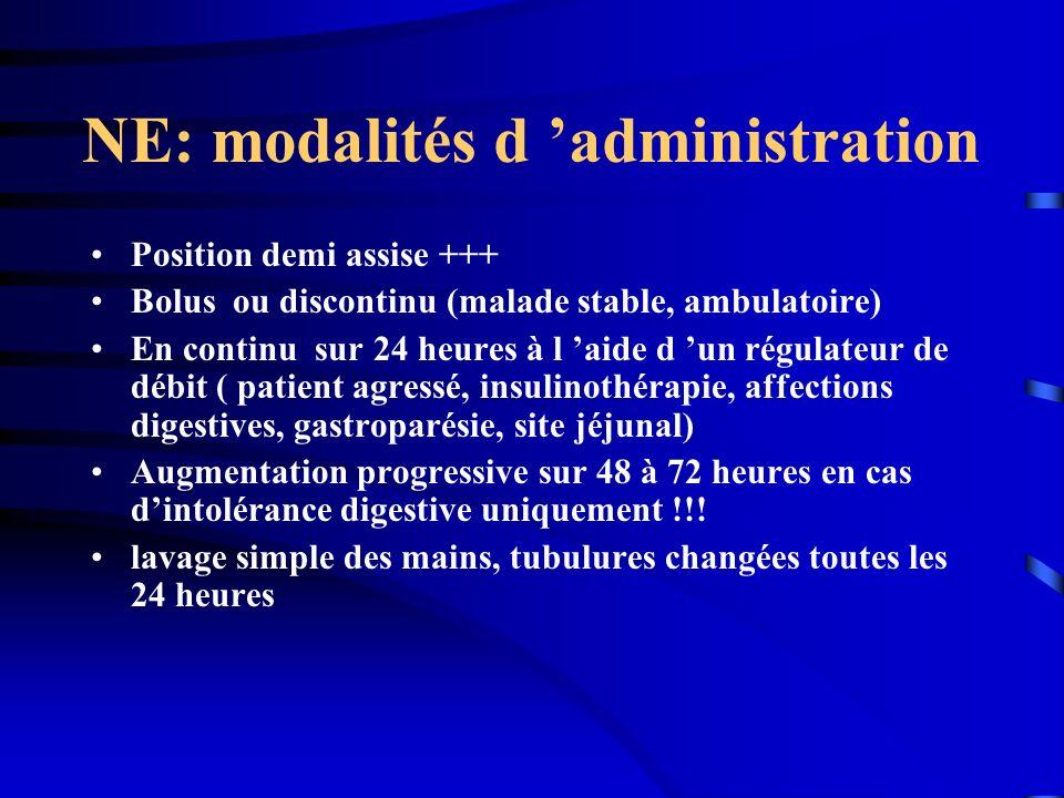 NE: modalités d administration Position demi assise +++ Bolus ou discontinu (malade stable, ambulatoire) En continu sur 24 heures à l aide d un régula