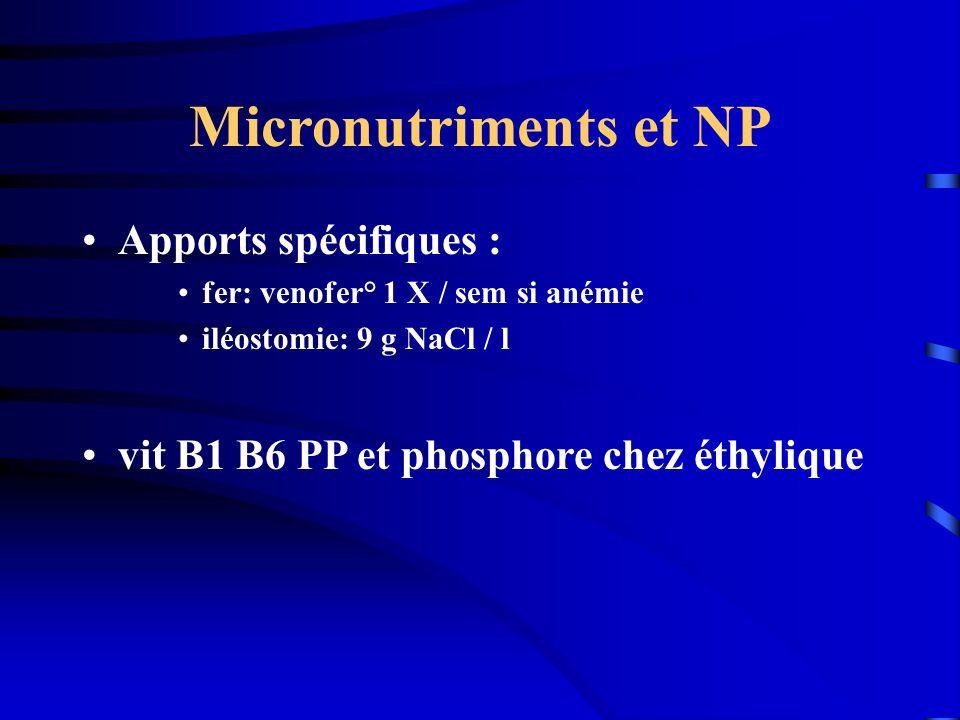 Micronutriments et NP Apports spécifiques : fer: venofer° 1 X / sem si anémie iléostomie: 9 g NaCl / l vit B1 B6 PP et phosphore chez éthylique