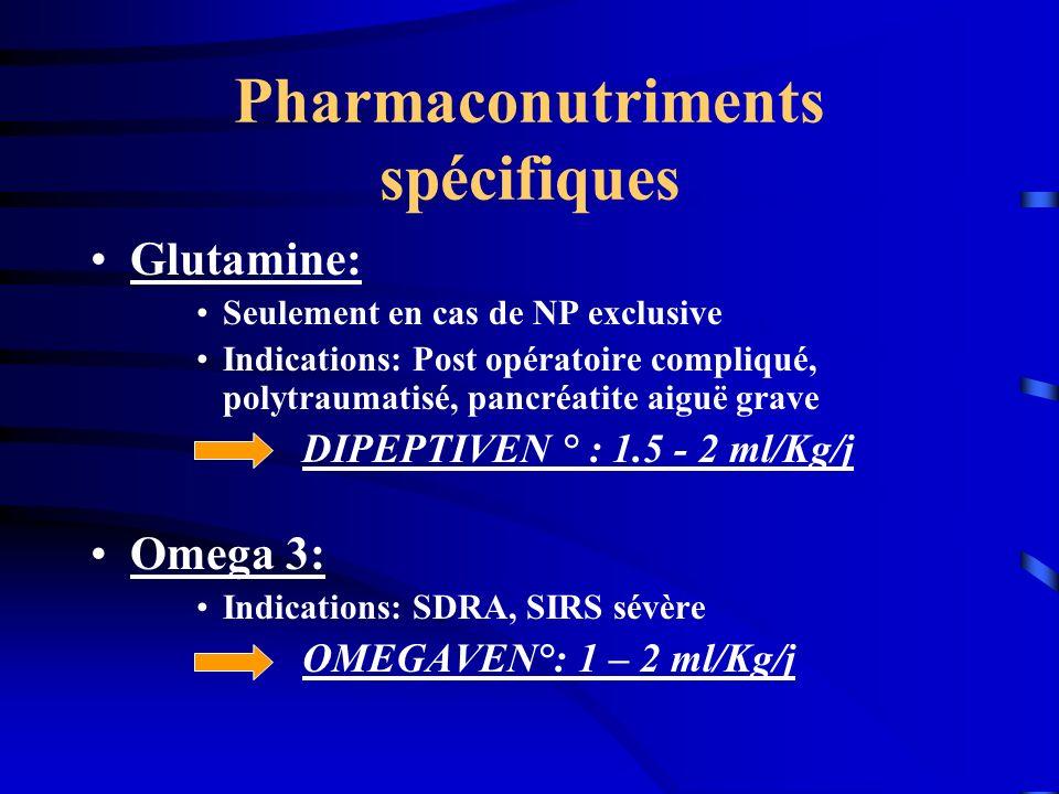Pharmaconutriments spécifiques Glutamine: Seulement en cas de NP exclusive Indications: Post opératoire compliqué, polytraumatisé, pancréatite aiguë g