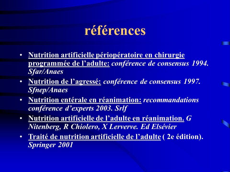 références Nutrition artificielle périopératoire en chirurgie programmée de ladulte: conférence de consensus 1994. Sfar/Anaes Nutrition de lagressé: c