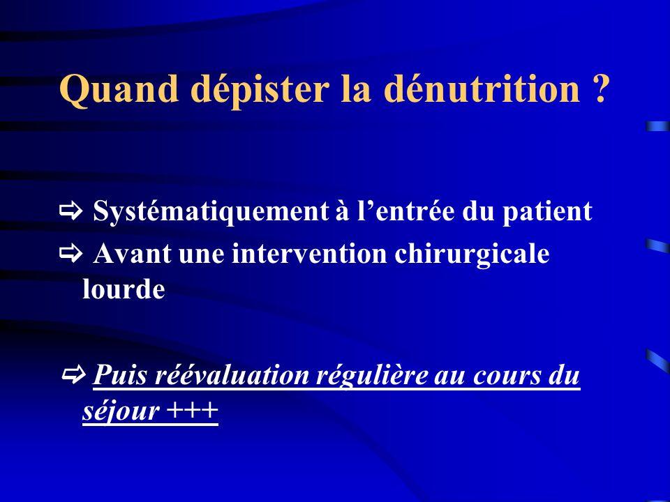 Surveillance de la nutrition 2 x / semaine1x/semaineToutes les 2 à 3 semaines Ionogramme sang et urine Phosphorémie Magnésémie Glycémie poidsPréalbumine CRP NFS hémostase Bilan hép.