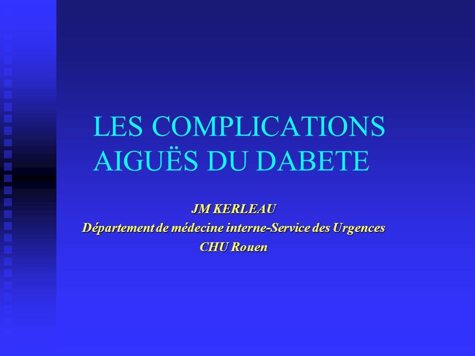 LES COMPLICATIONS AIGUËS DU DABETE JM KERLEAU Département de médecine interne-Service des Urgences CHU Rouen