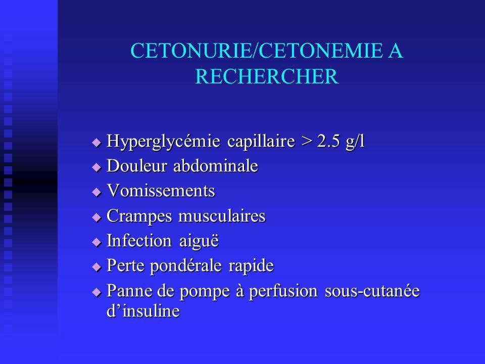 CETONURIE/CETONEMIE A RECHERCHER Hyperglycémie capillaire > 2.5 g/l Hyperglycémie capillaire > 2.5 g/l Douleur abdominale Douleur abdominale Vomissements Vomissements Crampes musculaires Crampes musculaires Infection aiguë Infection aiguë Perte pondérale rapide Perte pondérale rapide Panne de pompe à perfusion sous-cutanée dinsuline Panne de pompe à perfusion sous-cutanée dinsuline
