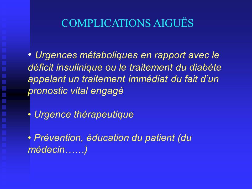 Urgences métaboliques en rapport avec le déficit insulinique ou le traitement du diabète appelant un traitement immédiat du fait dun pronostic vital engagé Urgence thérapeutique Prévention, éducation du patient (du médecin……) COMPLICATIONS AIGUËS