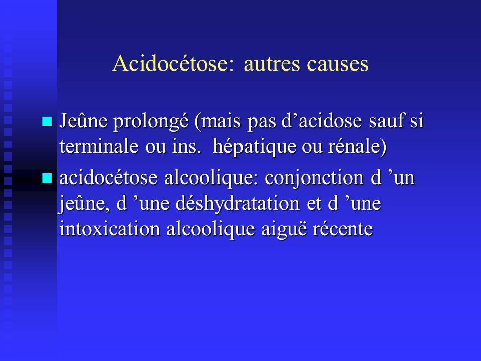 Acidocétose: autres causes Jeûne prolongé (mais pas dacidose sauf si terminale ou ins.