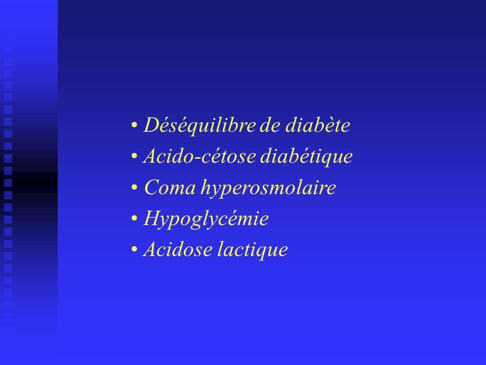 Déséquilibre de diabète Acido-cétose diabétique Coma hyperosmolaire Hypoglycémie Acidose lactique