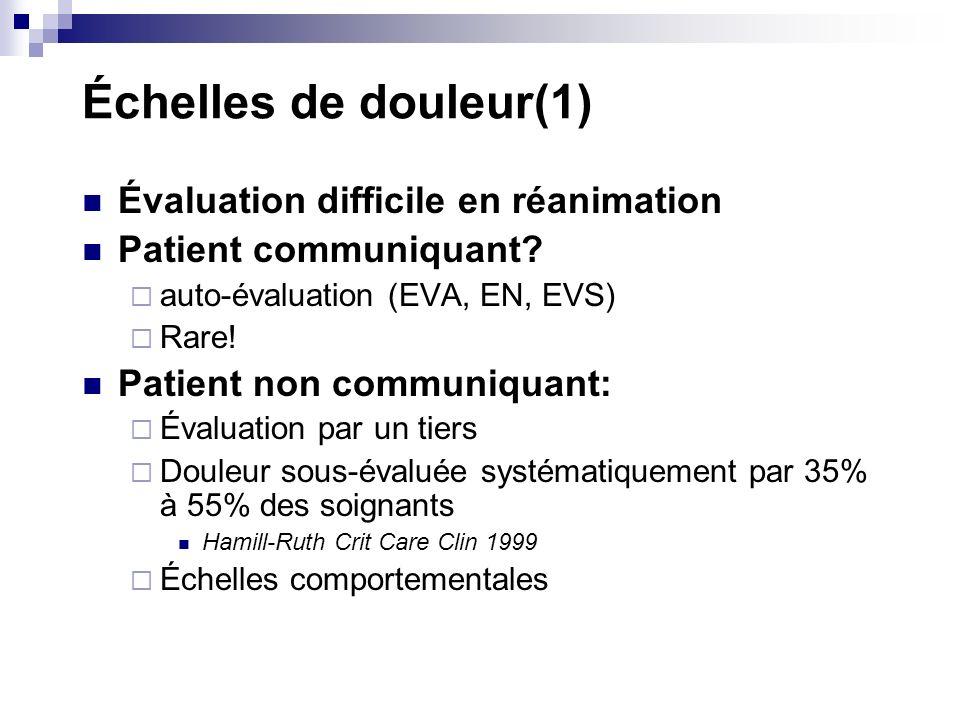 Échelles de douleur(1) Évaluation difficile en réanimation Patient communiquant? auto-évaluation (EVA, EN, EVS) Rare! Patient non communiquant: Évalua