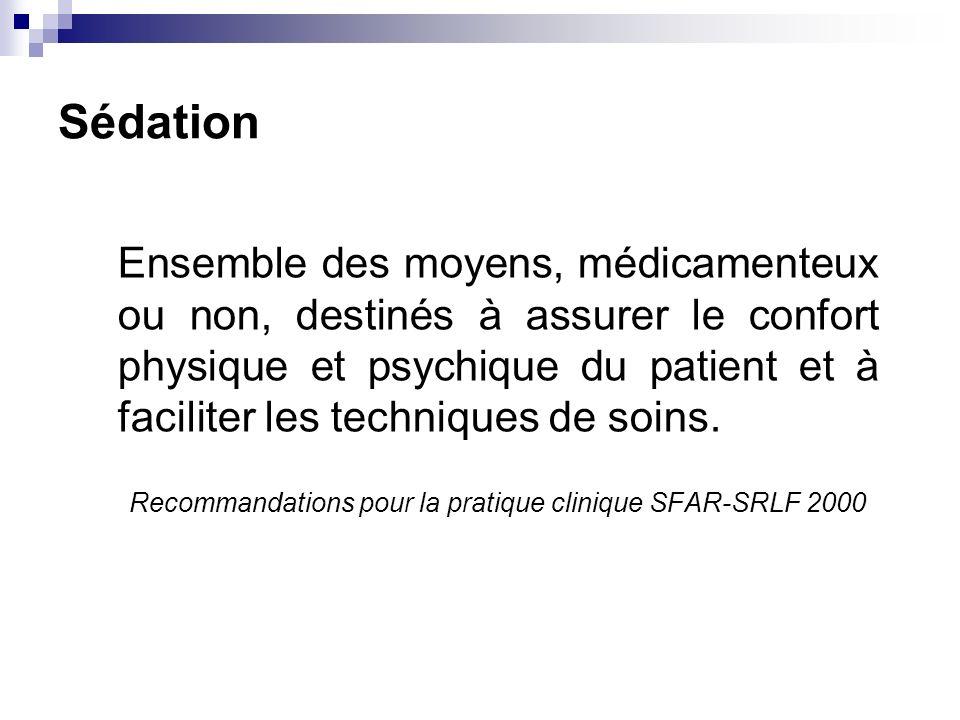 Sédation Ensemble des moyens, médicamenteux ou non, destinés à assurer le confort physique et psychique du patient et à faciliter les techniques de so