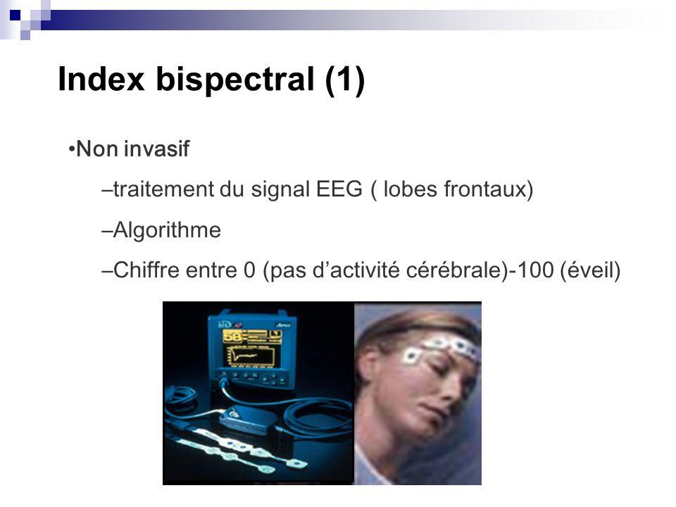 Index bispectral (1) Non invasif –traitement du signal EEG ( lobes frontaux) –Algorithme –Chiffre entre 0 (pas dactivité cérébrale)-100 (éveil)