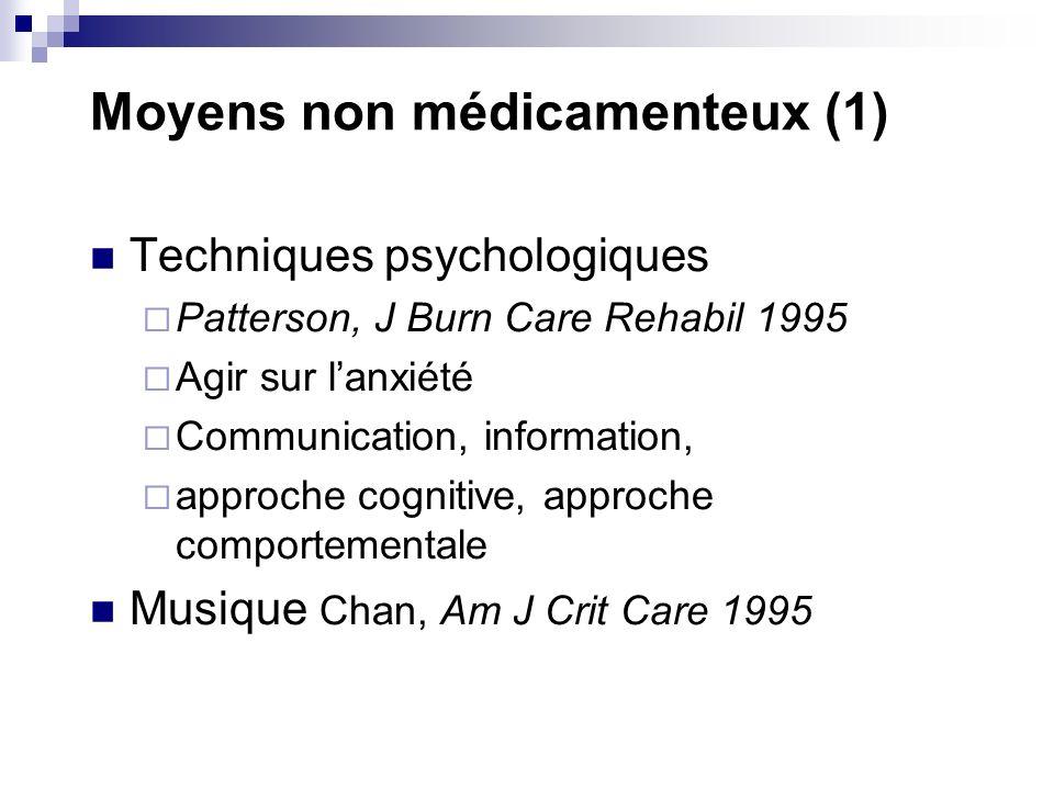Moyens non médicamenteux (1) Techniques psychologiques Patterson, J Burn Care Rehabil 1995 Agir sur lanxiété Communication, information, approche cogn