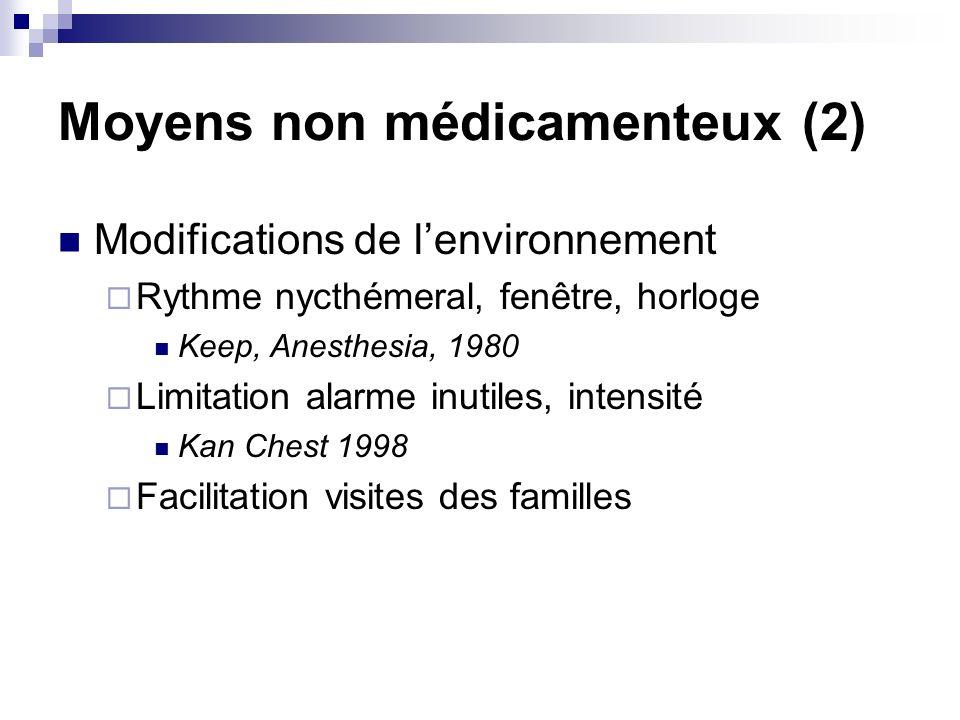 Moyens non médicamenteux (2) Modifications de lenvironnement Rythme nycthémeral, fenêtre, horloge Keep, Anesthesia, 1980 Limitation alarme inutiles, intensité Kan Chest 1998 Facilitation visites des familles