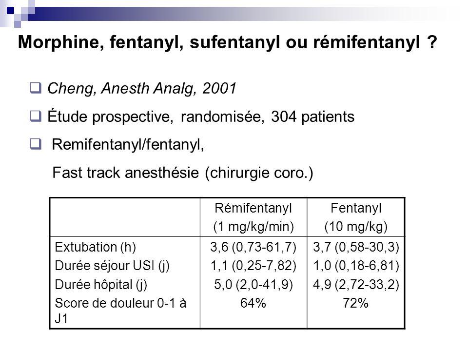 Morphine, fentanyl, sufentanyl ou rémifentanyl ? Rémifentanyl (1 mg/kg/min) Fentanyl (10 mg/kg) Extubation (h) Durée séjour USI (j) Durée hôpital (j)