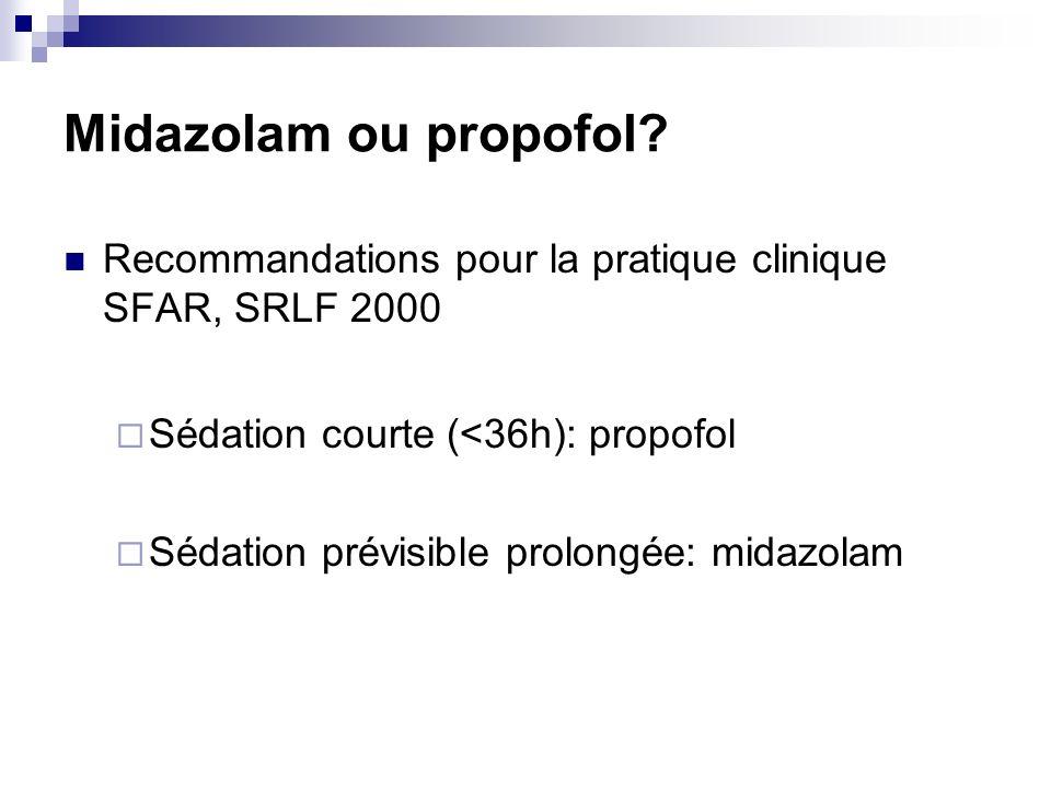 Midazolam ou propofol? Recommandations pour la pratique clinique SFAR, SRLF 2000 Sédation courte (<36h): propofol Sédation prévisible prolongée: midaz