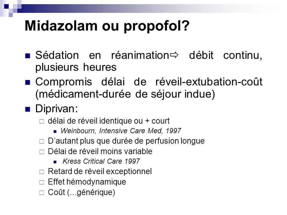 Midazolam ou propofol? Sédation en réanimation débit continu, plusieurs heures Compromis délai de réveil-extubation-coût (médicament-durée de séjour i