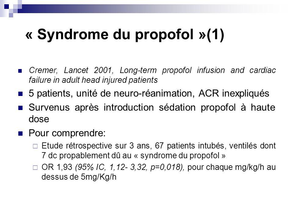 « Syndrome du propofol »(1) Cremer, Lancet 2001, Long-term propofol infusion and cardiac failure in adult head injured patients 5 patients, unité de neuro-réanimation, ACR inexpliqués Survenus après introduction sédation propofol à haute dose Pour comprendre: Etude rétrospective sur 3 ans, 67 patients intubés, ventilés dont 7 dc propablement dû au « syndrome du propofol » OR 1,93 (95% IC, 1,12- 3,32, p=0,018), pour chaque mg/kg/h au dessus de 5mg/Kg/h