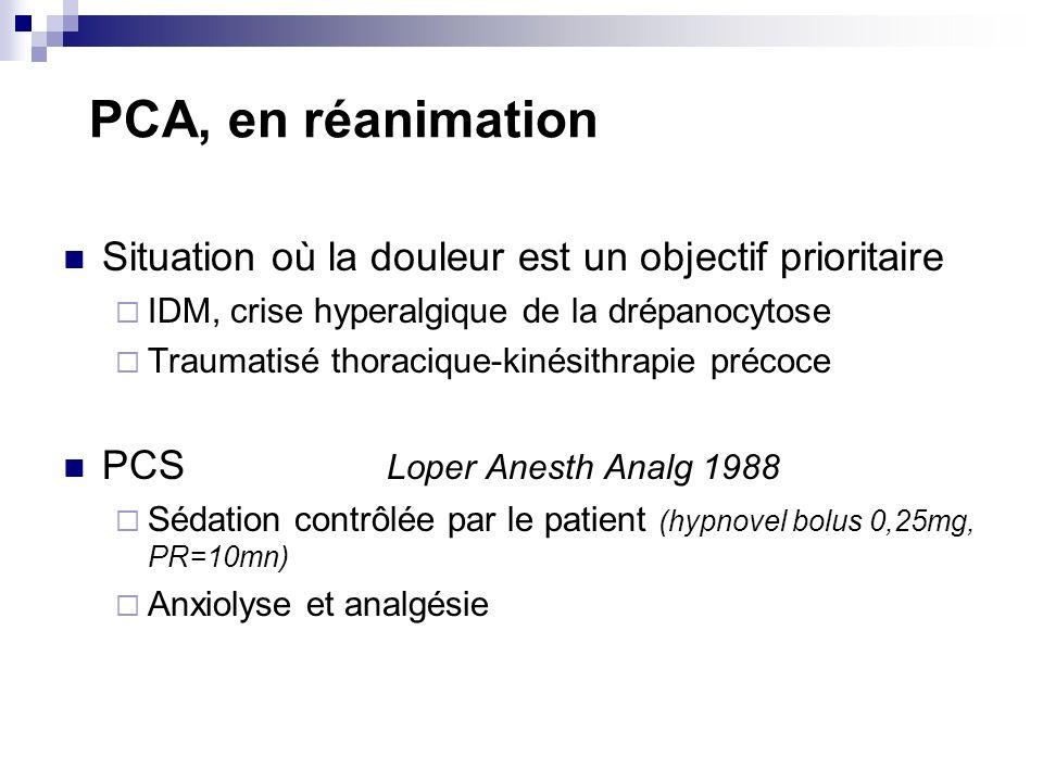 PCA, en réanimation Situation où la douleur est un objectif prioritaire IDM, crise hyperalgique de la drépanocytose Traumatisé thoracique-kinésithrapie précoce PCS Loper Anesth Analg 1988 Sédation contrôlée par le patient (hypnovel bolus 0,25mg, PR=10mn) Anxiolyse et analgésie