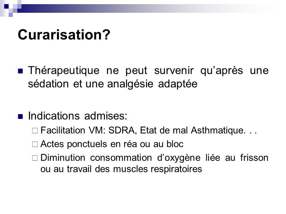 Curarisation? Thérapeutique ne peut survenir quaprès une sédation et une analgésie adaptée Indications admises: Facilitation VM: SDRA, Etat de mal Ast