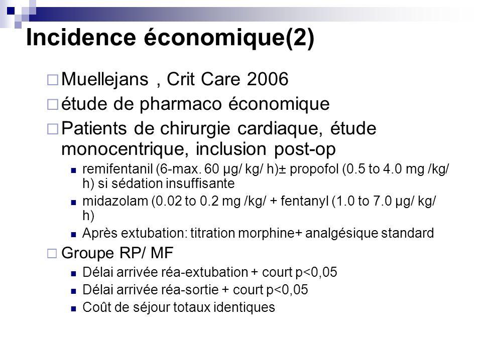 Incidence économique(2) Muellejans, Crit Care 2006 étude de pharmaco économique Patients de chirurgie cardiaque, étude monocentrique, inclusion post-op remifentanil (6-max.