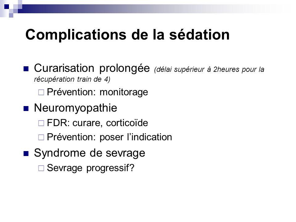 Complications de la sédation Curarisation prolongée (délai supérieur à 2heures pour la récupération train de 4) Prévention: monitorage Neuromyopathie