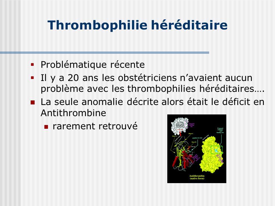 Thrombophilie héréditaire Problématique récente Il y a 20 ans les obstétriciens navaient aucun problème avec les thrombophilies héréditaires…. La seul