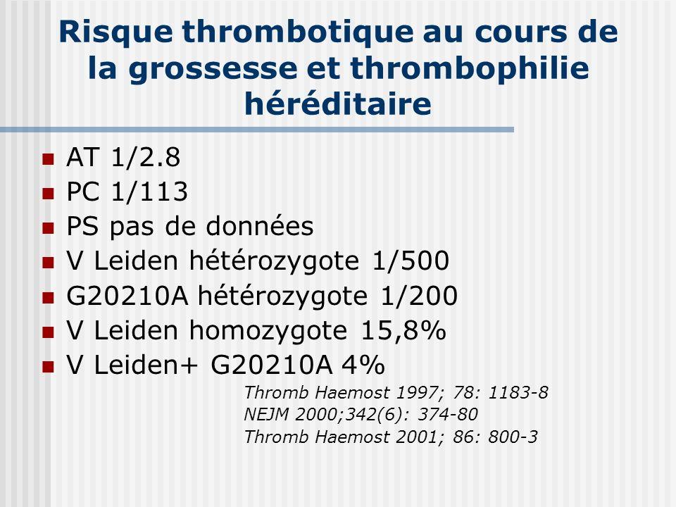 Risque thrombotique au cours de la grossesse et thrombophilie héréditaire AT 1/2.8 PC 1/113 PS pas de données V Leiden hétérozygote 1/500 G20210A hété