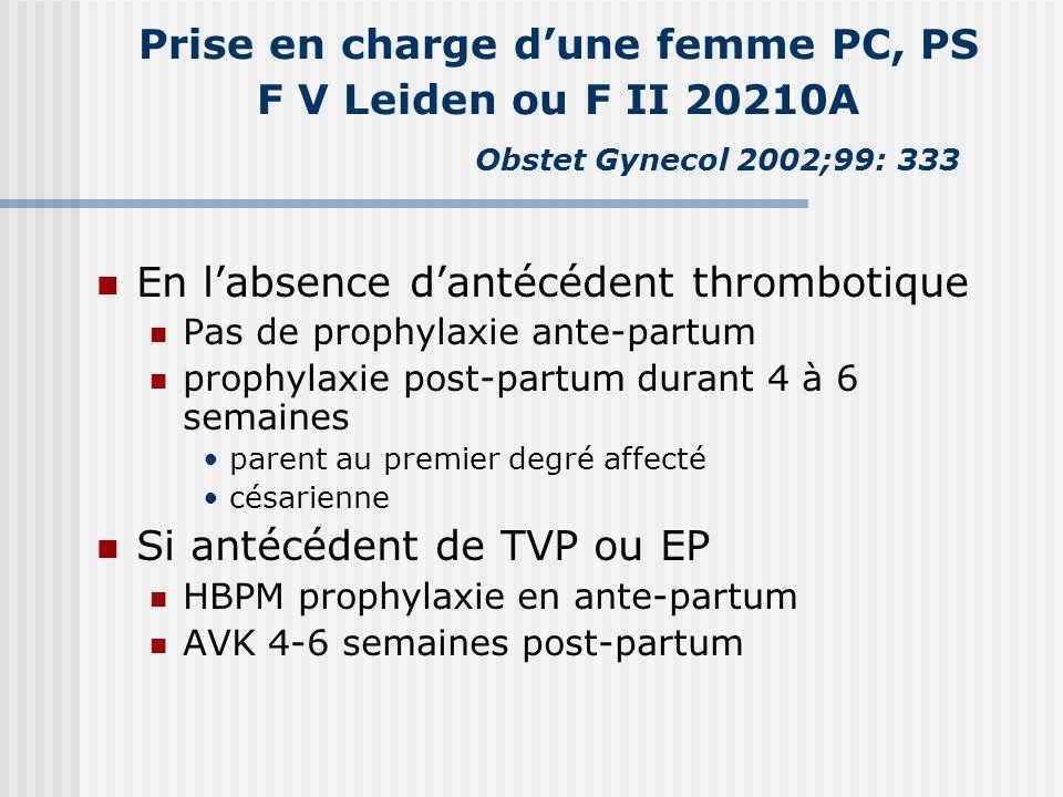 Prise en charge dune femme PC, PS F V Leiden ou F II 20210A Obstet Gynecol 2002;99: 333 En labsence dantécédent thrombotique Pas de prophylaxie ante-p