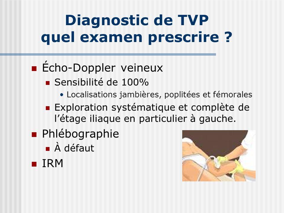 Diagnostic de TVP quel examen prescrire ? Écho-Doppler veineux Sensibilité de 100% Localisations jambières, poplitées et fémorales Exploration systéma