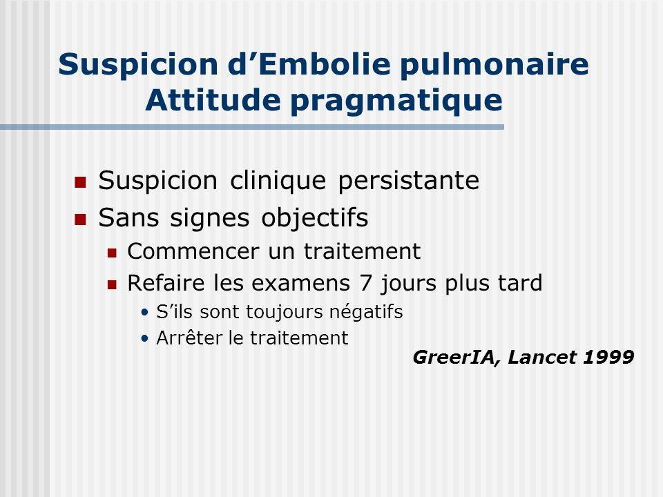 Suspicion dEmbolie pulmonaire Attitude pragmatique Suspicion clinique persistante Sans signes objectifs Commencer un traitement Refaire les examens 7