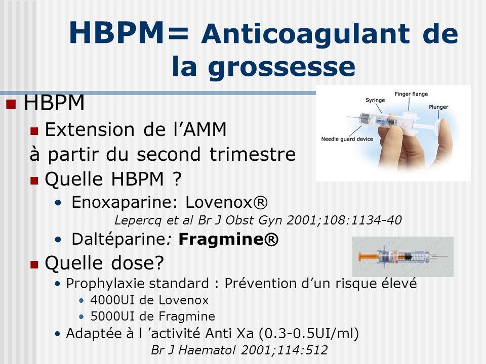 HBPM= Anticoagulant de la grossesse HBPM Extension de lAMM à partir du second trimestre Quelle HBPM ? Enoxaparine: Lovenox® Lepercq et al Br J Obst Gy