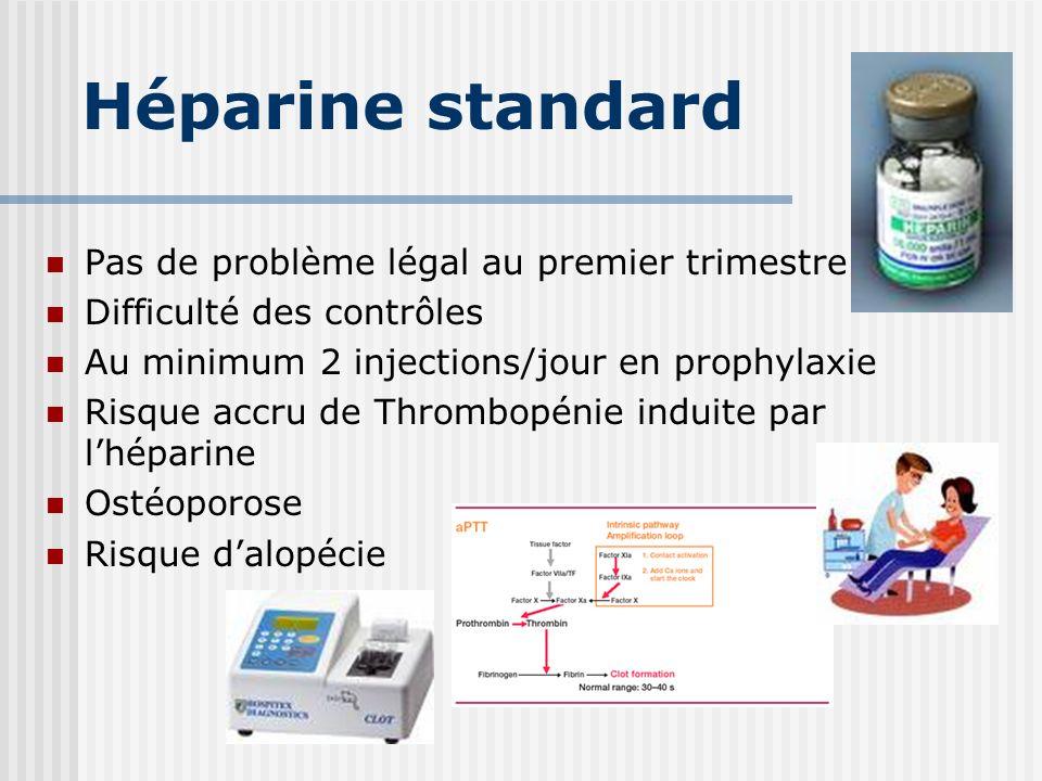 Héparine standard Pas de problème légal au premier trimestre Difficulté des contrôles Au minimum 2 injections/jour en prophylaxie Risque accru de Thro
