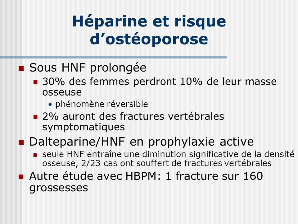 Héparine et risque dostéoporose Sous HNF prolongée 30% des femmes perdront 10% de leur masse osseuse phénomène réversible 2% auront des fractures vert