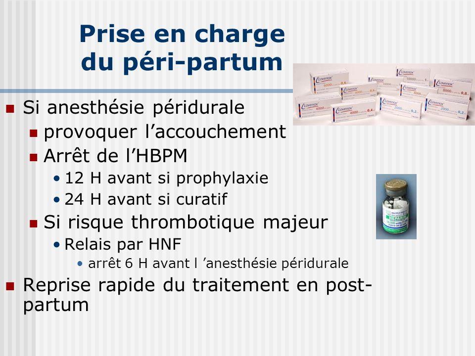 Prise en charge du péri-partum Si anesthésie péridurale provoquer laccouchement Arrêt de lHBPM 12 H avant si prophylaxie 24 H avant si curatif Si risq