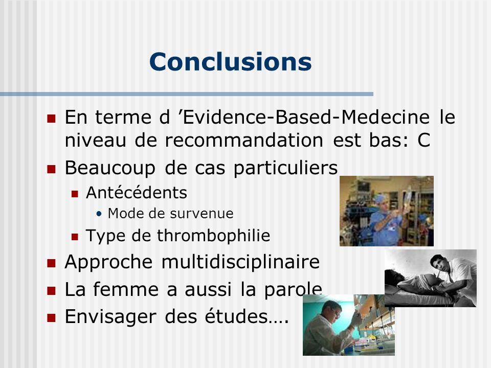 Conclusions En terme d Evidence-Based-Medecine le niveau de recommandation est bas: C Beaucoup de cas particuliers Antécédents Mode de survenue Type d